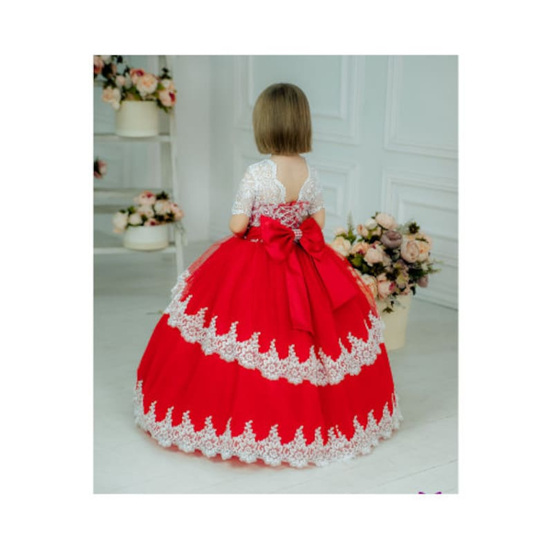 58d082ae6b51b Red flower girl Dress Wedding Party Dress for girl Luxury Childrens dress  for birthday Dresses for girls