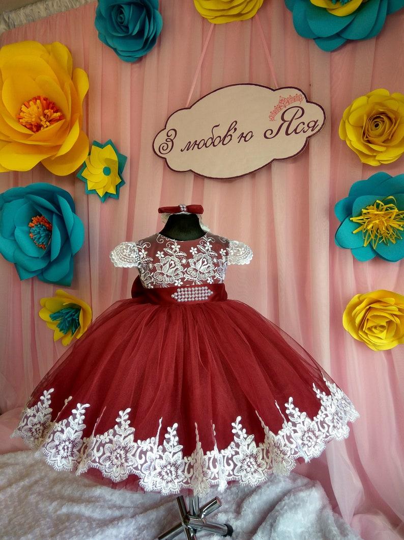 59a163a5e1655 Burgundy Flower girl Dress Wedding Party Dress for girl Luxury Childrens  dress for birthday Dresses for girls