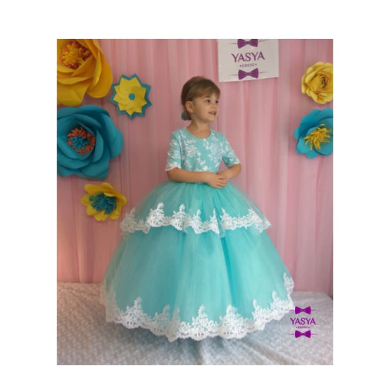 7d3ad88deb Tiffany Flower girl Dress Wedding Party Dress for girl Luxury