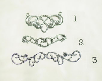 Bracelet Bars or Connectors with Six Loops Art Nouveau Baroque Neo Victorian Antiqued Sterling Silver Plated over Brass 6 Pieces