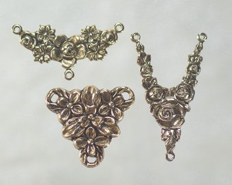Vintage Rococo Pendant Connectors 2 pc Antique Gold Victorian Earring Necklace Stampings Vintage Brass Victorian Filigree Connectors