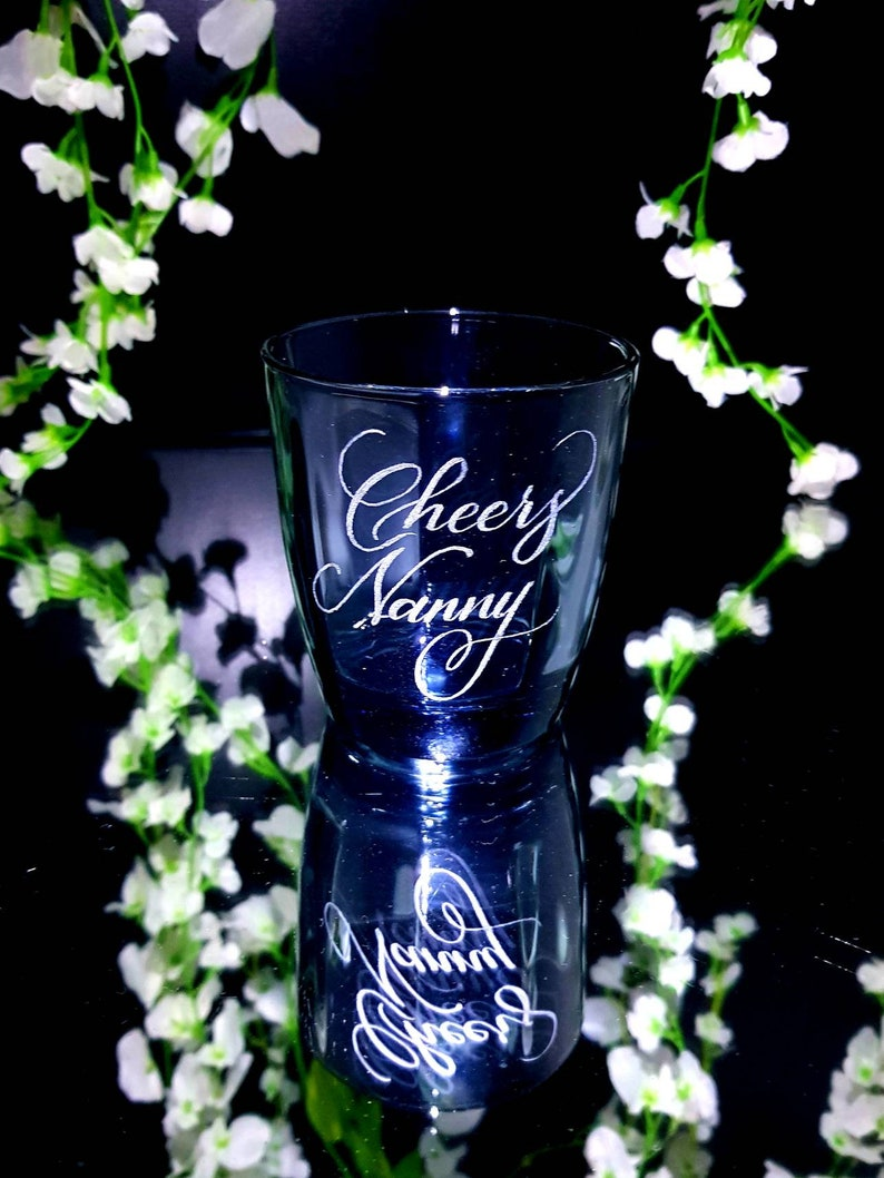 hand engraved Personalised blue glass tumbler glass whiskey, christmas glass rum navy coloured glass