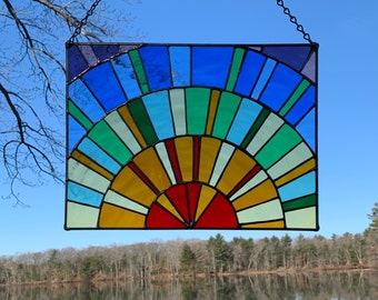 Handmade Stained Glass Rainbow Sunburst Panel
