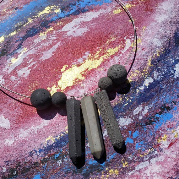 Black or gray necklace with a modern design made with black dark gray or light gray construction paper alternative choker gift idea