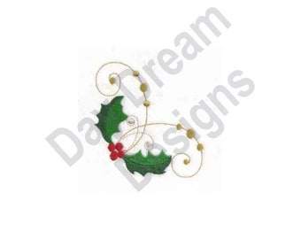 Swirl Holly Corner - Machine Embroidery Design, Embroidery Patterns, Embroidery Files, Instant Download