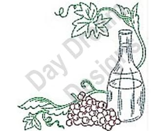 Grape Corner - Machine Embroidery Design, Embroidery Patterns, Embroidery Files, Instant Download