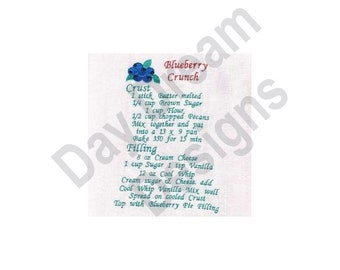 Blueberry Crunch Recipe Towel - Machine Embroidery, Embroidery Designs, Embroidery Patterns, Embroidery Files