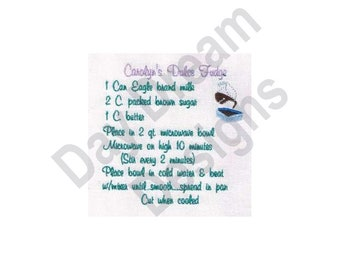 Dulce Fudge Recipe Towel - Machine Embroidery Design, Embroidery Patterns, Embroidery Files, Instant Download