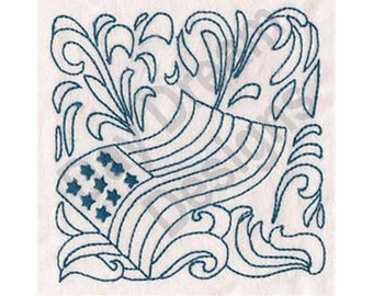 Patriotic Quilt Block - Machine Embroidery Design, Embroidery Patterns, Embroidery Files, Instant Download
