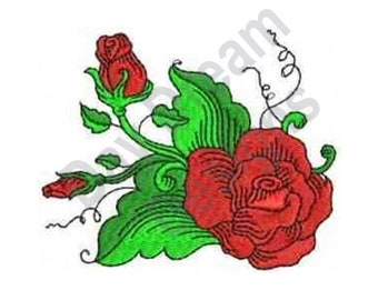 Fantastic Red Roses - Machine Embroidery Design