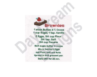 Brownie Recipe Towel - Machine Embroidery Design, Embroidery Patterns, Embroidery Files, Instant Download