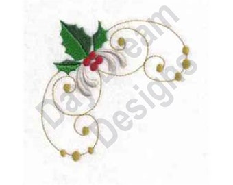 Holly Corner  - Machine Embroidery Design, Embroidery Patterns, Embroidery Files, Instant Download