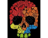 Flowery Skull - Machine Embroidery Design, Embroidery Patterns, Embroidery Files, Instant Download