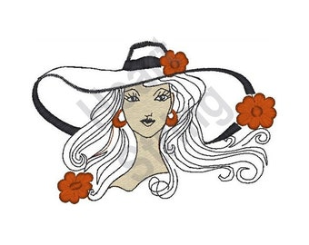 Woman In Big Hat - Machine Embroidery Design, Embroidery Patterns, Embroidery Files, Instant Download