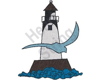 Lighthouse Gull - Machine Embroidery Design, Embroidery Patterns, Embroidery Files, Instant Download