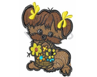 Dog With Flowers - Machine Embroidery Design, Embroidery Patterns, Embroidery Files, Instant Download