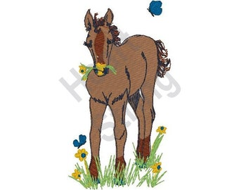 Horse Eating Grass - Machine Embroidery Design, Embroidery Patterns, Embroidery Files, Instant Download