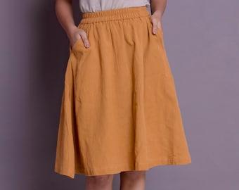 f408d1f74 Linen Skirt, Skirt with Pockets, Linen skirt for women, Midi Skirt, Knee  Length skirt, Plus size skirt - Custom made by Modernmoveboutique