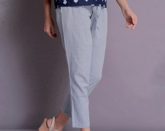 Adjustable bottom Pants Casual Linen Pants Ankle strings Pants Custom made by Modernmoveboutique