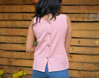 46c3619ab3af36 Linen Cotton Tank Top with Back Opening   Washed soft linen cotton Tank Top  with back wooden buttoning   Women Blouse