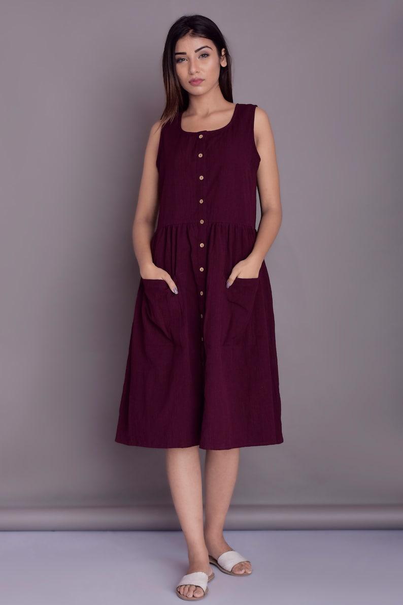 Midi dress with patch pockets Summer dress for women Button opening dress Linen Sleeveless dress Custom made by Modernmoveboutique