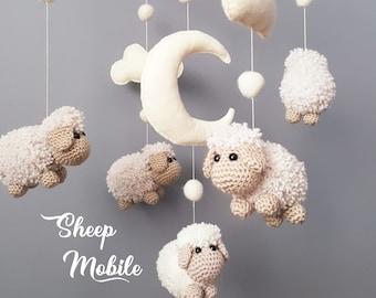 Baby Crib Mobile Sheep Mobile Crochet Mobile Amigurumi Mobile Schaf Mobile Mobile Bébé Mouton Gehäkeltes Mobile Nursery Decor Baby Gift