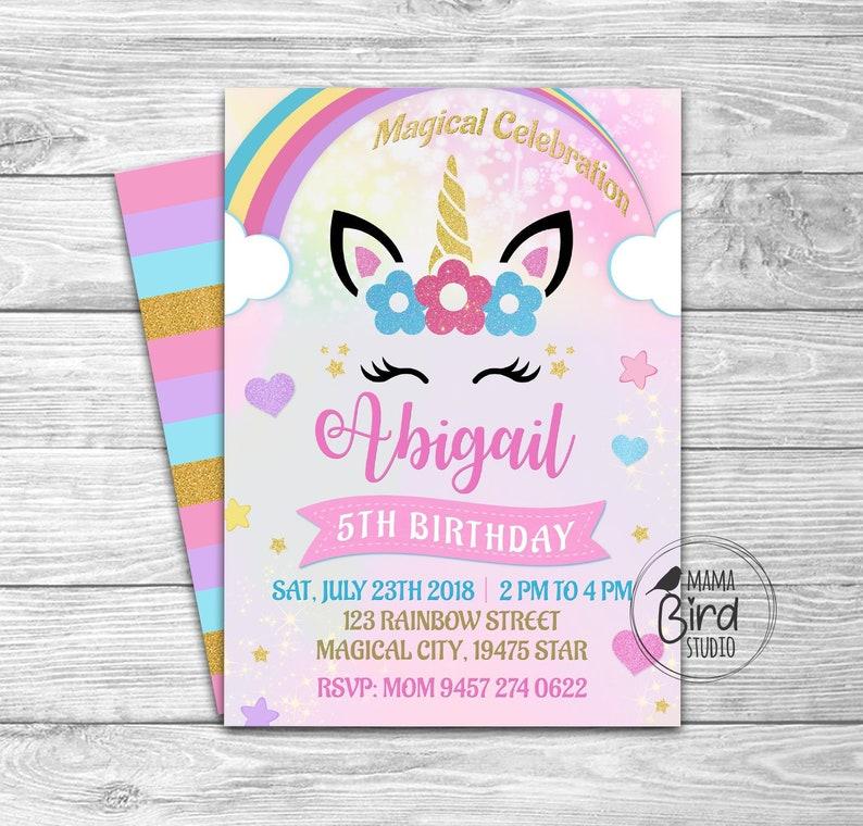 Unicorn Invitation Birthday Invitation Rainbow Girl Card Digital File 5x7 In Or 4x6 Background Included In Party Supplies Invite 017