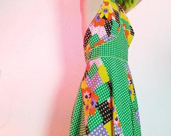 EU38   Retro Dress   Patchwork   70s   Festival   Flowers   Prozepink