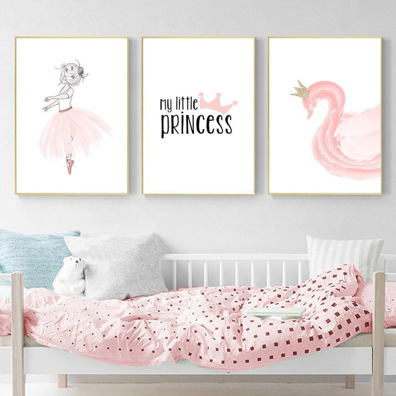 Baby Bedroom Decoration, Princess,Cute Baby Girl Room,Pink Swan,  Minimalism,Decoration Wall Art Decor,Wall Pictures For Living Room