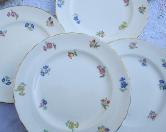 052fb1604a9a2 4 New Chelsea Art Deco 1930's Pink Floral English China Large Salad Plates