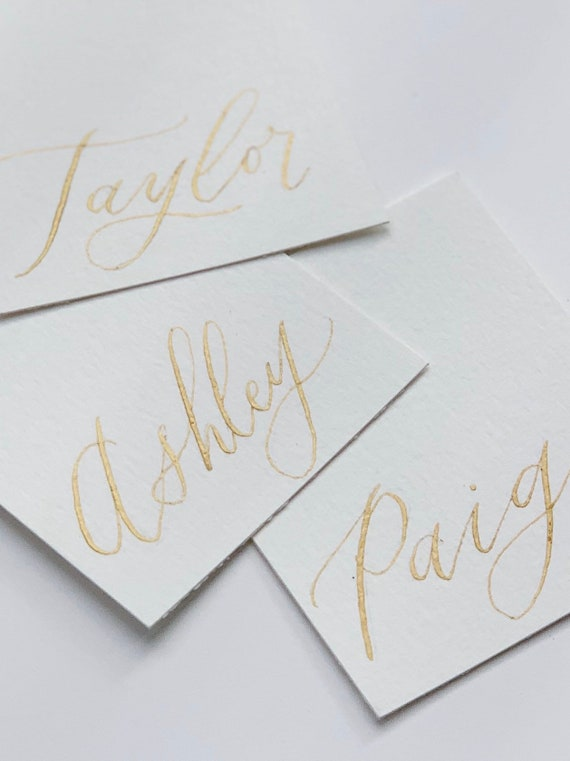 Hand Lettered Calligraphy Wedding Escort Cards  Custom Wedding Place Cards