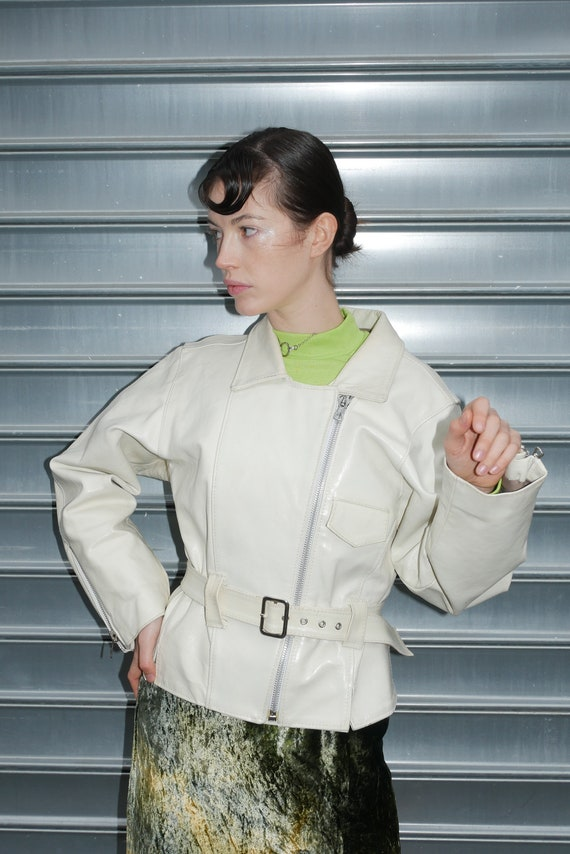 Patent white leather jacket