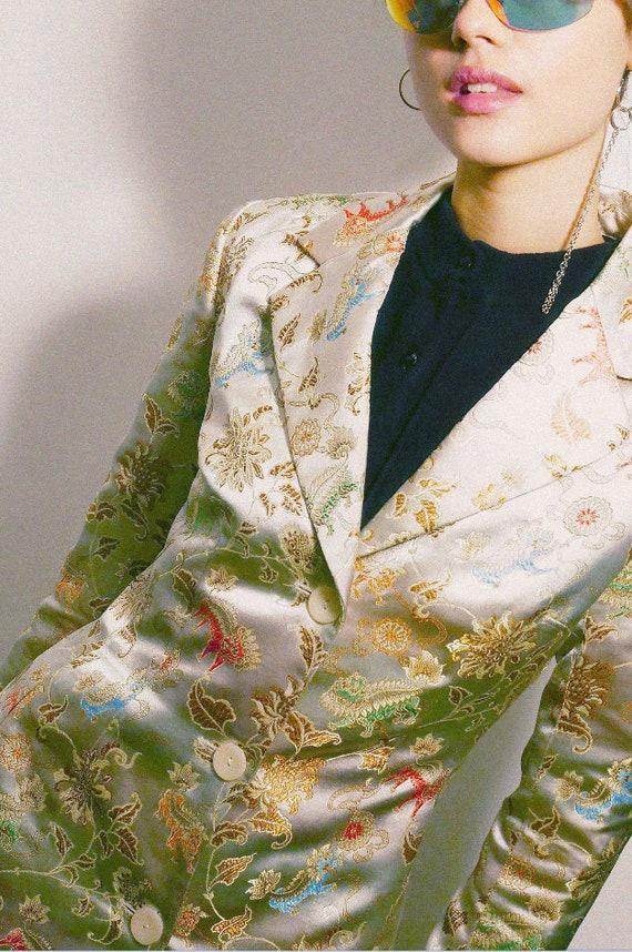 Chinese satin long jacket