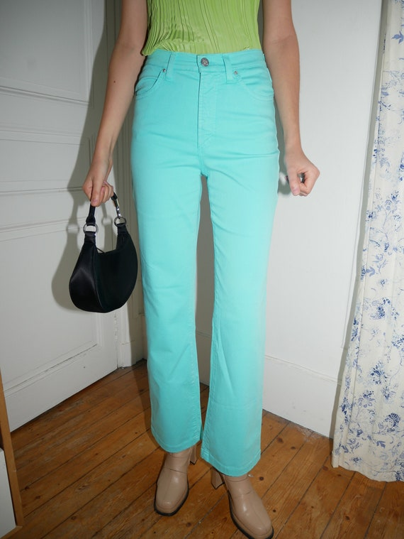 Versace turquoise flare pants