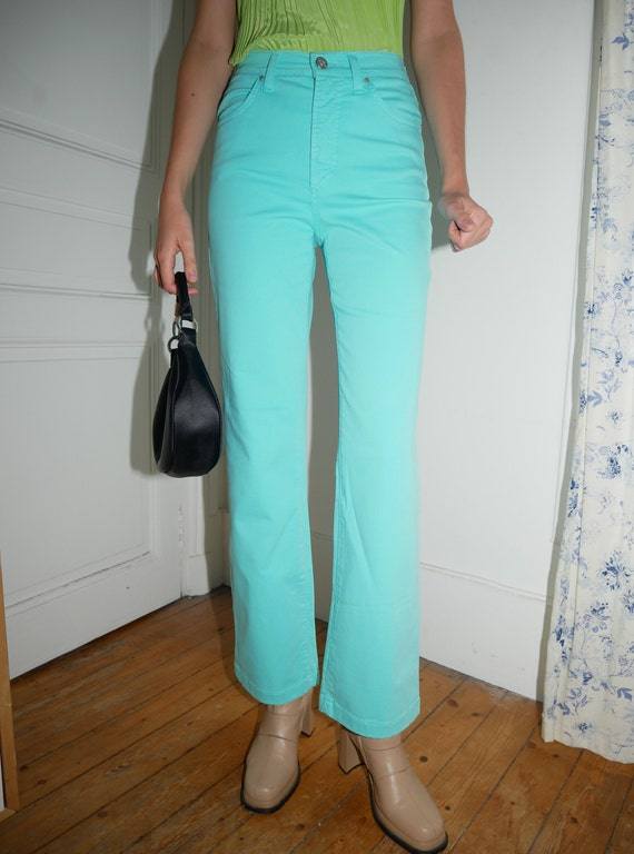 Versace turquoise flare pants - image 2