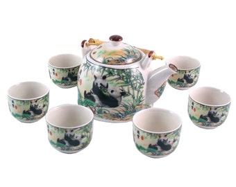Herbal Teapot Set - Giant Pandas Tea Set, Ceramic Tea Set, Teapot, Teacup Gift set.
