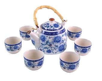 Herbal Teapot Set - Peony Tea Set, Ceramic Tea Set, Teapot, Teacup Gift set.