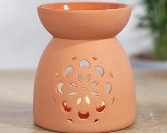 Floral Cutout Terracotta Effect Oil Burner, Wax Melt Burner, Oil Burner