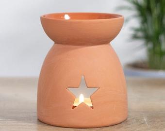 Star Cutout Terracotta Effect Oil Burner, Wax Melt Burner, Oil Burner