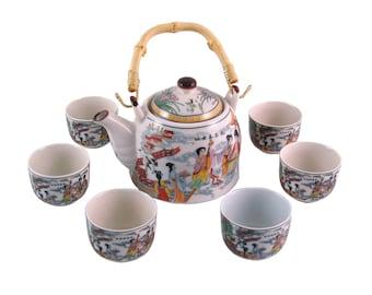 Herbal Teapot Set - Traditional Musicians Tea Set, Ceramic Tea Set, Teapot, Teacup Gift set.