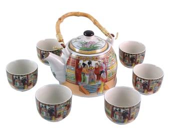 Herbal Teapot Set - Palace Ladies Tea Set, Ceramic Tea Set, Teapot, Teacup Gift set.