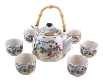 Herbal Teapot Set - Garden Games Tea Set, Ceramic Tea Set, Teapot, Teacup Gift set.
