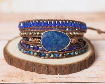 Lapis Lazuli Stone layered bracelet. Bohemian Style Bracelet. Multi-layered, wrap bracelet. Boho Healing Bracelet. Yoga, meditation bracelet