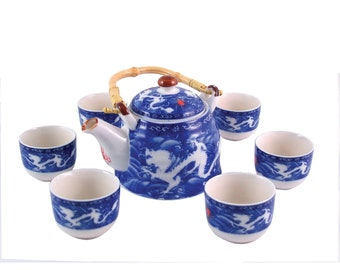 Herbal Teapot Set - Double Dragon Tea Set, Ceramic Tea Set, Teapot, Teacup Gift set.