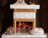 Gold and White Glass Tiled Fireplace OOAK for American Girl and all 18 Inch Dolls