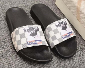 f2eb3a18e906 Custom Louis vuitton x Supreme DOG Hand printed white women men inspired  unisex LV Slides - Sandals - Flip Flops.