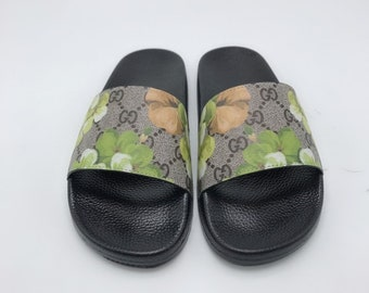 40420ebb2 Custom Gucci Hand printed Green flowers women men inspired unisex gucci  Slides - Sandals - Flip Flops.