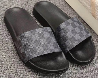 97f0f15d048 Custom Louis vuitton Hand printed gray women men inspired unisex LV Slides  - Sandals - Flip Flops.