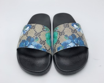 c00679c4874 Custom Gucci Hand printed bleu flowers women men inspired unisex gucci  Slides - Sandals - Flip Flops.