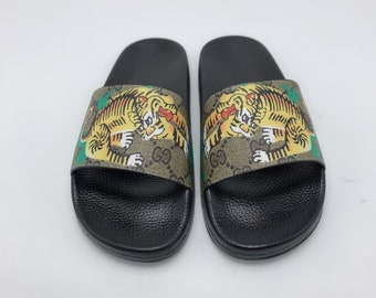 f213f4b3675c2a Custom Gucci Hand printed tiger women men inspired unisex gucci Slides -  Sandals - Flip Flops.